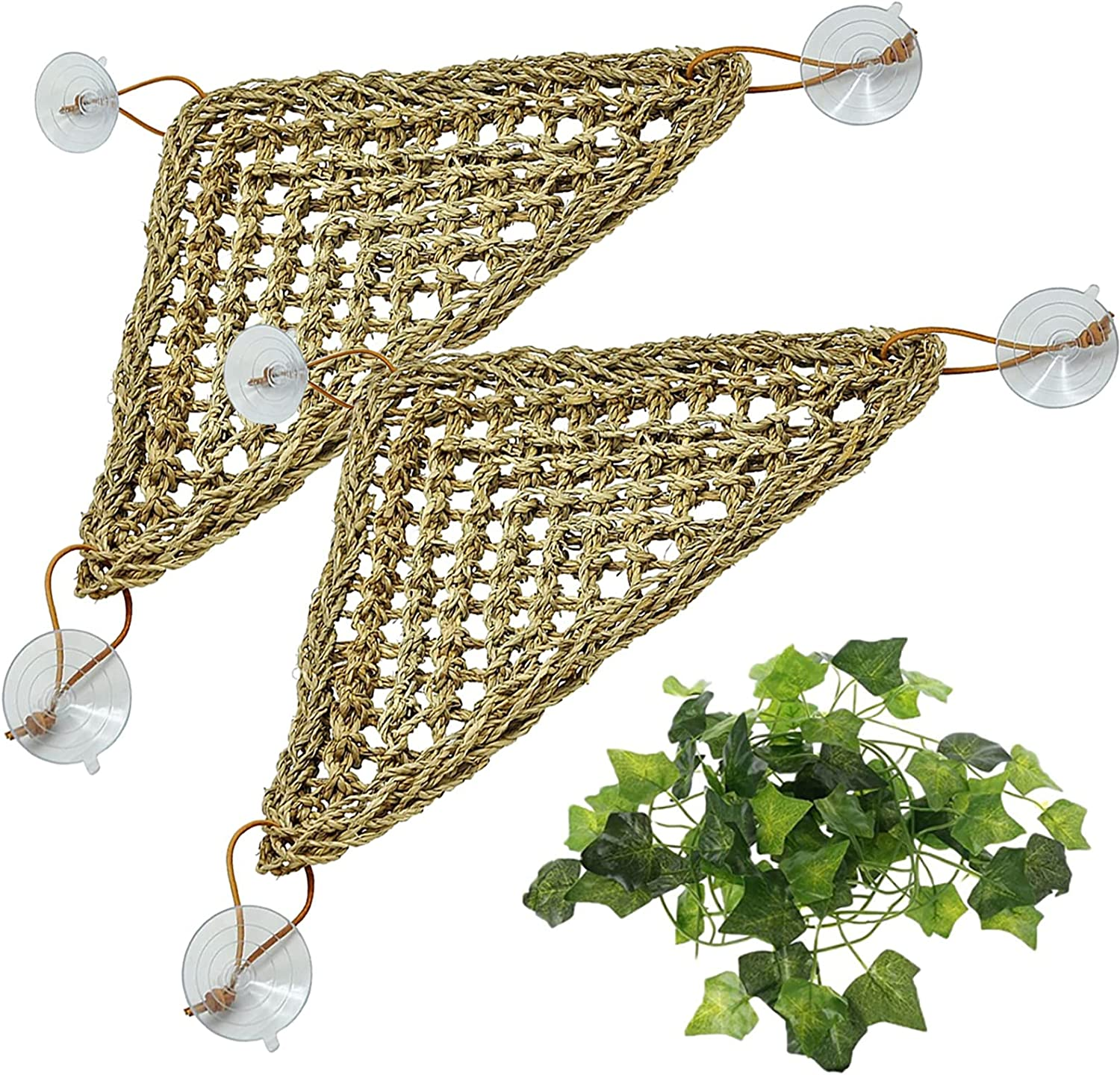 Tfwadmx 2 Pack Bearded Dragon Hammock Lizards Lounger, Small Reptile Climbing Accessories, 100% Natural Seagrass Fibers Hammock for Reptiles, Geckos, Anoles, Iguanas, Hermit Crabs, Triangular