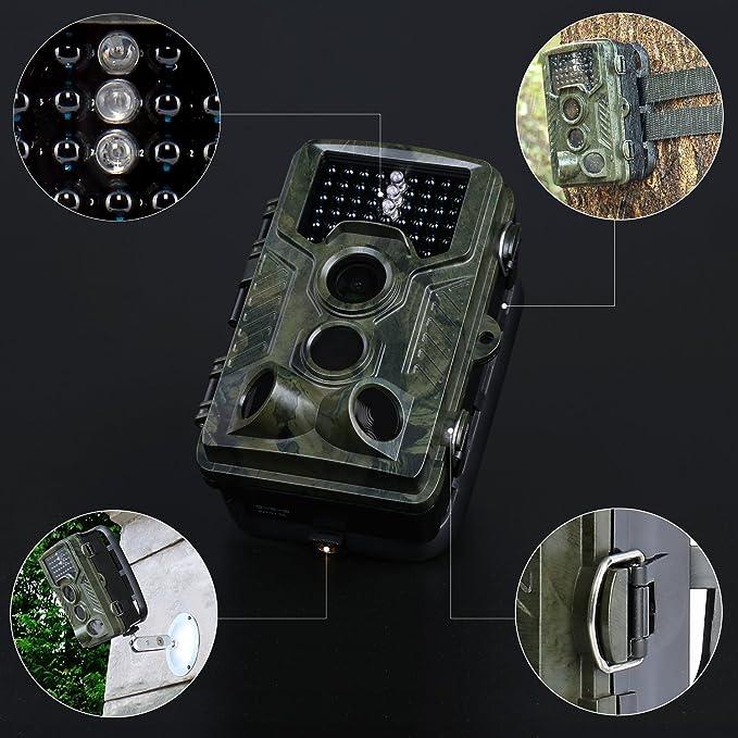Wild Cámara de colleer, 1080p HD/120 ° Gran Angular Vigilancia Infrarrojos, alcance de 20 metros/12 MP/0,2 segundos Tiempo de disparo wetterbeständiger ...