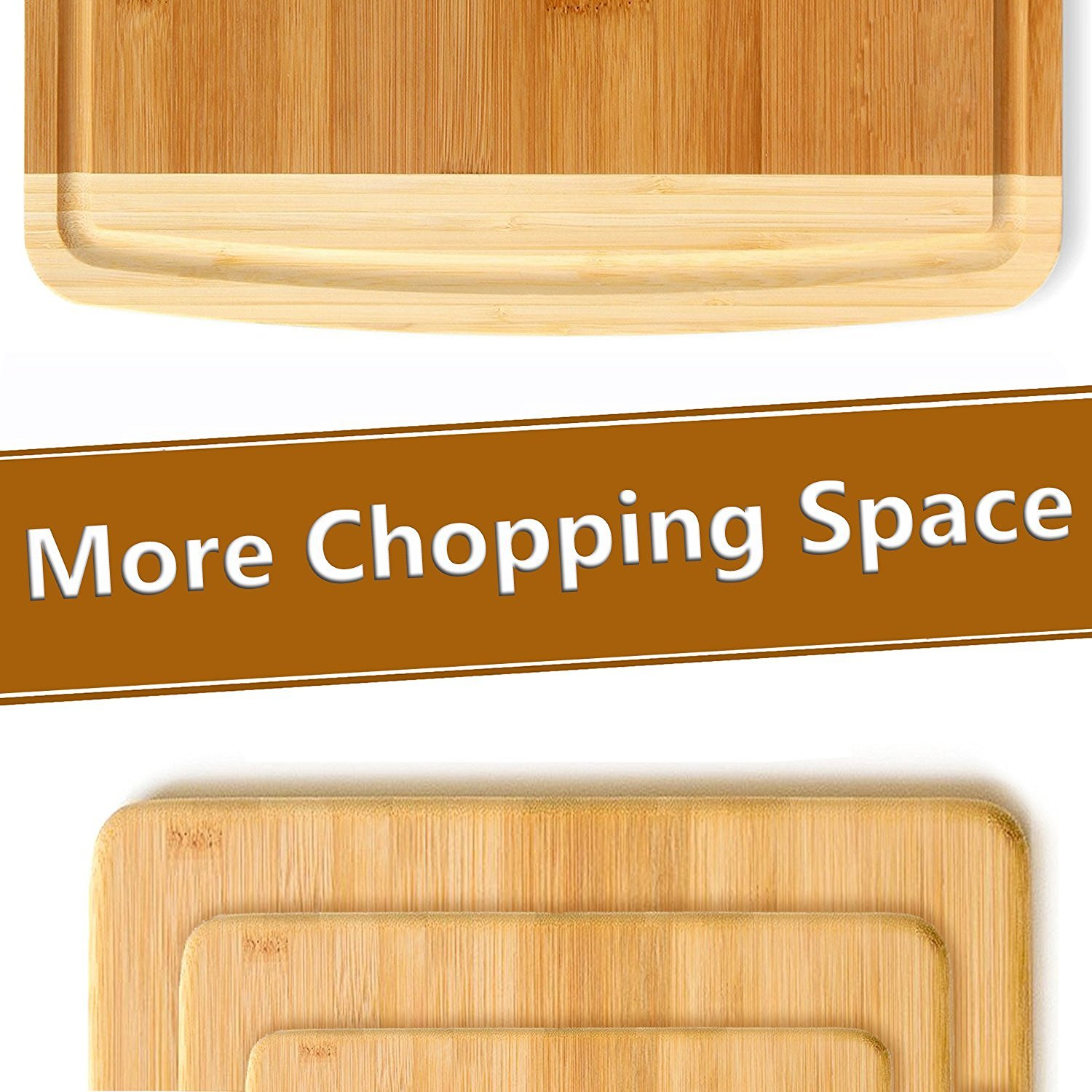 Premium Bamboo Cutting Board Set of 4 - Eco-Friendly Wood Chopping Boards with Juice Groove for Food Prep, Meat, Vegetables, Fruits, Crackers & Cheese - 100% Natural Bamboo Craftsmanship. by: Bambusi by Bambüsi (Image #6)