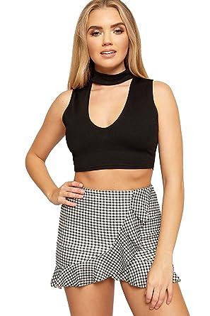 04ed5a175d6371 WEARALL Women s Gingham Check Print Ruffle Frill Shorts Hot Pants Skirt  Ladies Skort - Black White