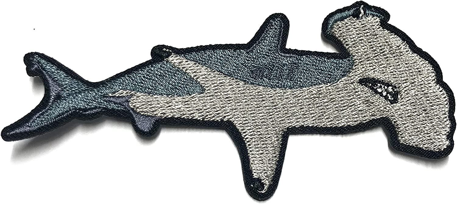 Hammerhead Shark Embroidered Patch DIY Iron-on or Sew-on Decorative Badge Emblem Vacation Souvenir Travel Gear Clothes Appliques Meg Great White Sharks Dolphins Whales Ocean Life Explore Jaws