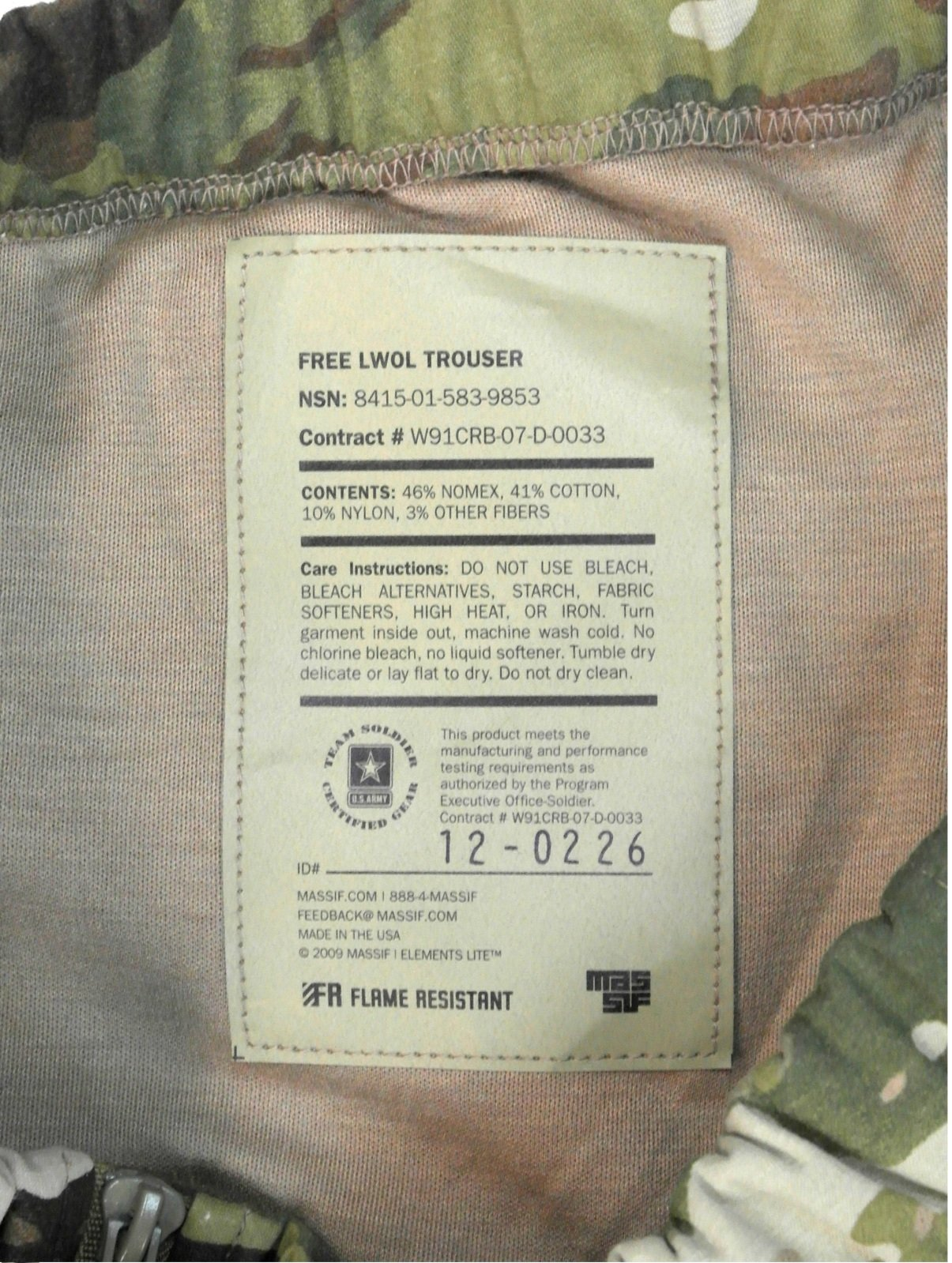 US Military Genuine Issue FREE Massif LWOL Fire-Retardant Pants, Multicam, Size XLS by Massif Mountain Gear (Image #2)