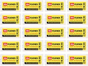 100 Feather NEW Hi-STAINELESS Platinum Coated Blade FAST SHIPPING