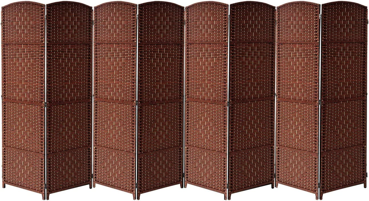 Sorbus Room Divider Privacy Screen, 6 ft. Tall Extra Wide Foldable Panel Partition Wall Divider, Double Hinged Room Dividers and Folding Privacy Screens, Diamond Double-Weaved (8 Panel, Espresso Rust)