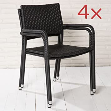 4 Gartenstühle Balkonstühle Stapelstühle schwarz stapelbare Stühle ...