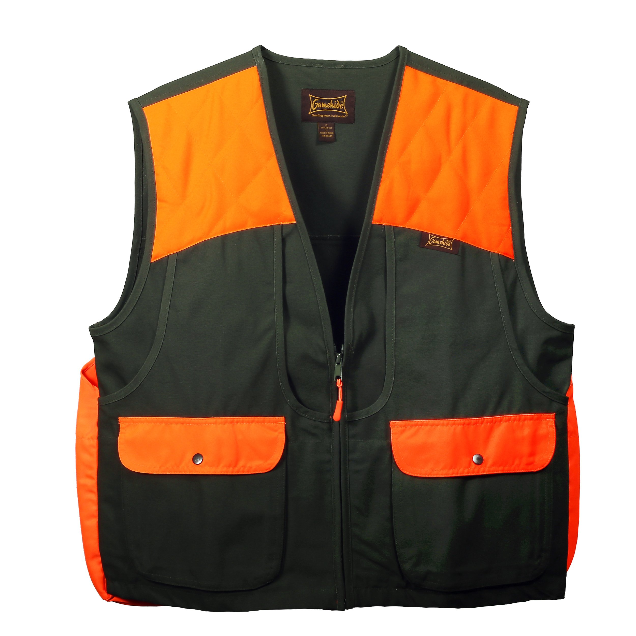 Gamehide Men's Upland Vest (Olive/Orange, Large) by Gamehide