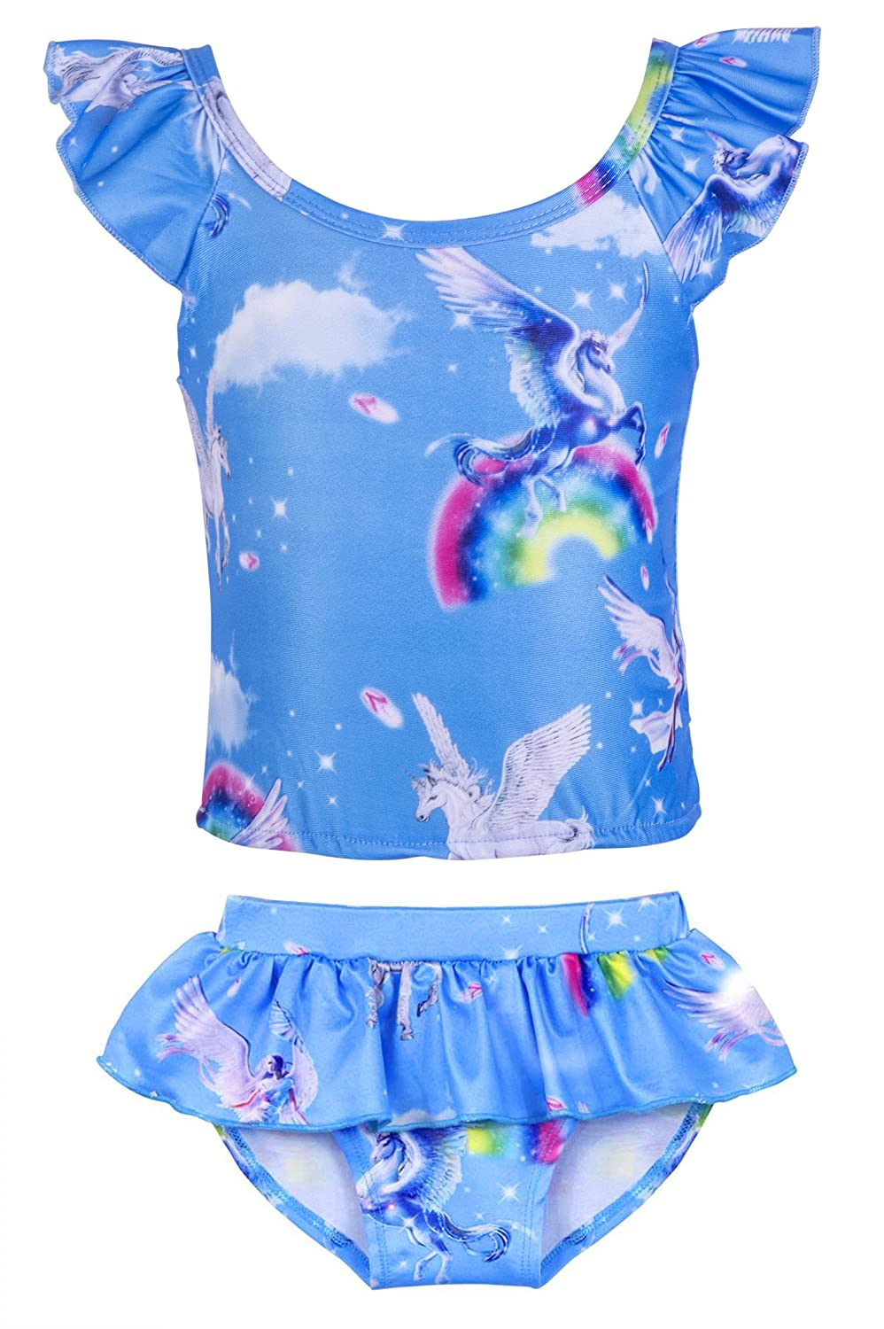 e0d4ce2f0ca94 Stretchy, soft and lightweight, it is comfortable to swim in the water.  This cute girl rainbow unicorn ...