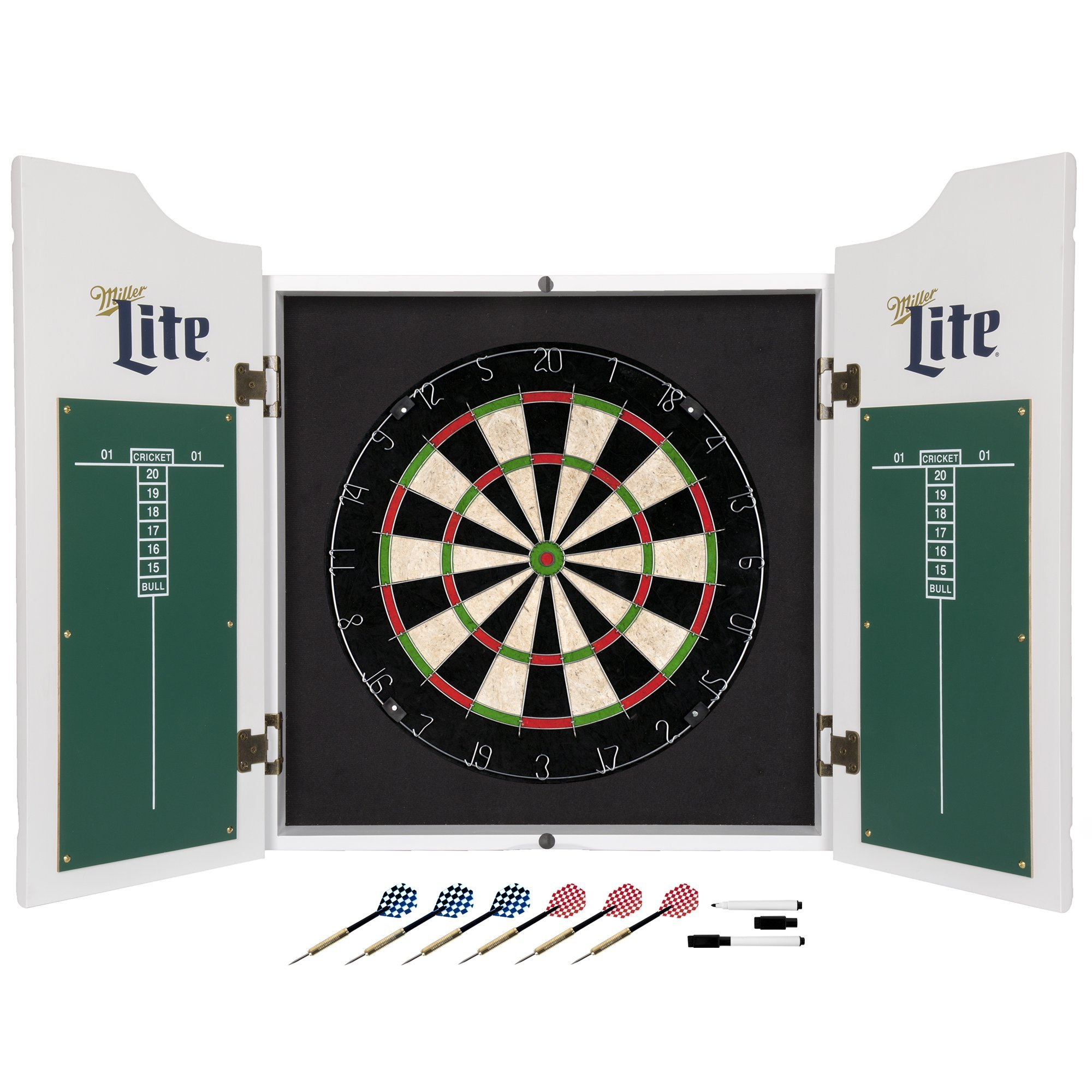 Officially Licensed Miller Lite Design Deluxe Wood Cabinet Complete Dart Set
