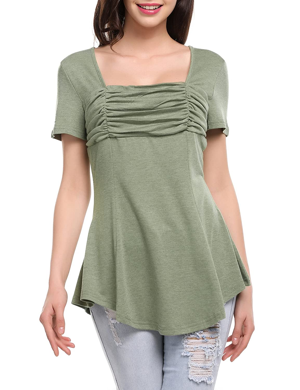 Meaneor Damen A Linie Shirt tunika spitze Tops Longshirt loose Bluse Minikleid Kurzarm Oberteile Einfarbig