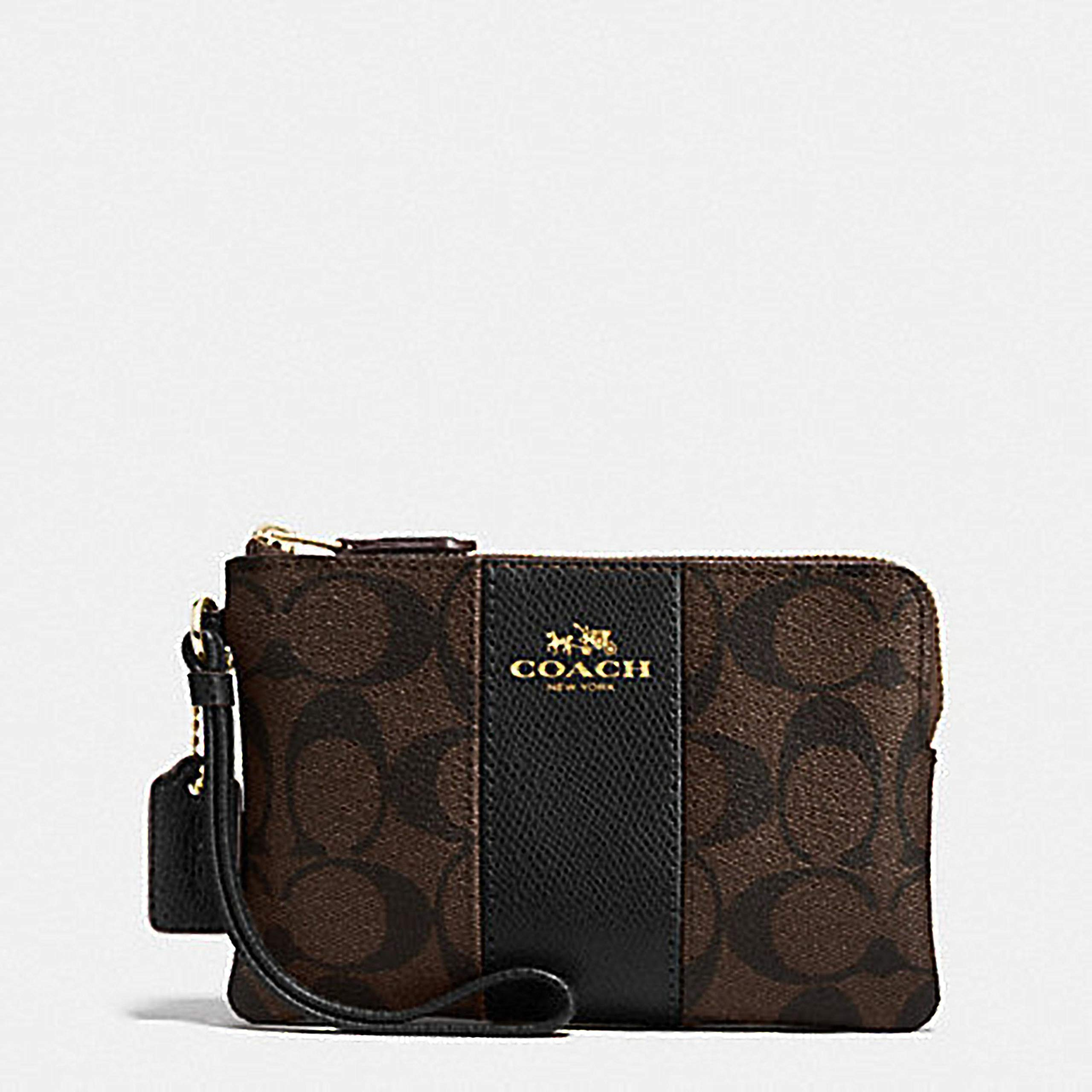 Coach F58035 Corner Zip Wristlet in Signature Coated Canvas Brown Black by Coach