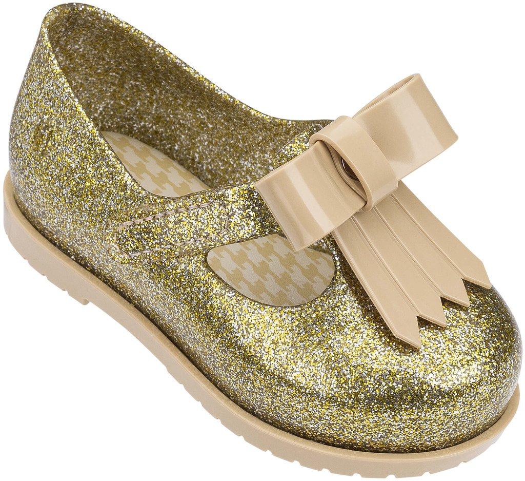 Mini Melissa Kids' Mini Classic Baby Ii Mary Jane Flat,Gold Glass Glitter,8 Regular US Toddler by Mini Melissa