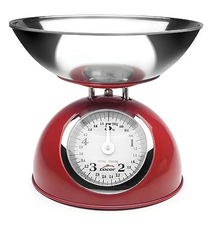 Lacor Retro 61718 Bascula Cocina de Acero 5 kg, Rojo, 25x23x15 cm