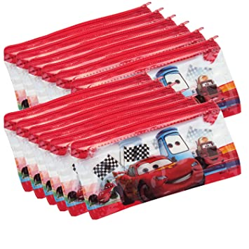 Asera 12 Pcs Kids Plastic PVC Pouch Small Size For Birthday Return Gifts Disney Cars