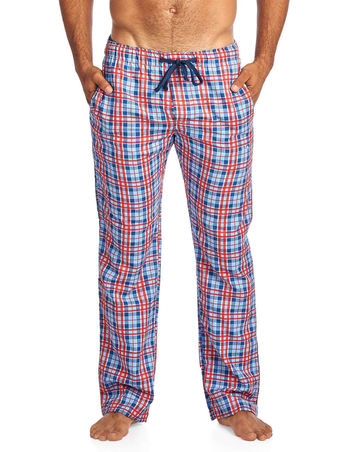 Balanced Tech Men's Woven Sleep Lounge Pajama Pants - Blue/Red - X-Large