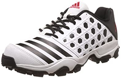 new style a22ca 40e82 Adidas Men s Sl 22 Trainer16 White, Black and Scarle Cricket Shoes - 11 UK