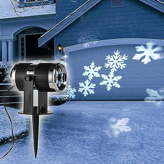 LED-Strahler mit 4 LEDs kalt-weißen Projektionsstrahler Schneeflocken
