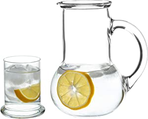 Bedside Water Carafe with Glass Set of 2, Use in Bedroom Bathroom, or Home and Kitchen, Use Cup as Lid, Lead Free Glass