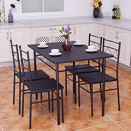Lovely Giantex 5 PCS Dining Table And Chairs Set, Wood Metal Dining Room Breakfast  Furniture Rectangular