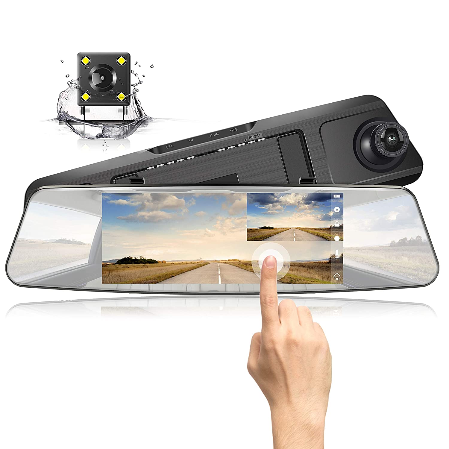 "Jeemak Backup Camera 4.3/"" Touch Screen Mirror Dash Cam 1080P Rearview Front and Rear Dual Lens Dashboard Recorder with Waterproof Reversing Camera"