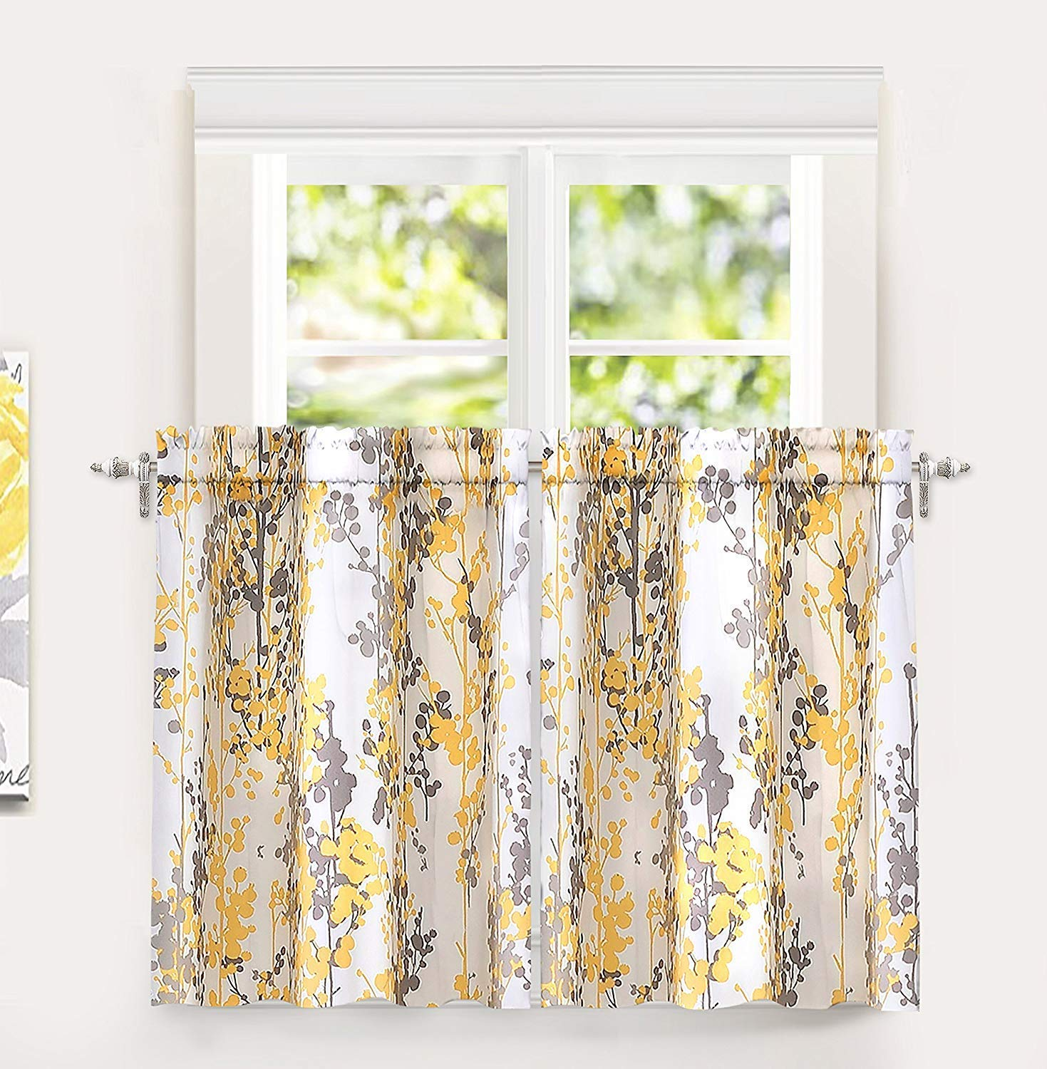 """DriftAway Leah Abstract Floral Blossom Ink Painting Room Darkening Kitchen Tier Window Treatment, Set of Two, Each 28""""x36""""+ 2"""" Header (Yellow/Gray)"""