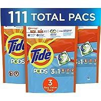 Tide PODS Liquid Laundry Detergent Pacs, Clean Breeze, 3 Bag Value Pack, 111 Count, HE Compatible