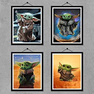 FUNHUA Baby Yoda Poster Prints - Set of 4 (8 inches x 10 inches) Wall Art Decor Poster Photos - Star Wars TV Series- No Frame