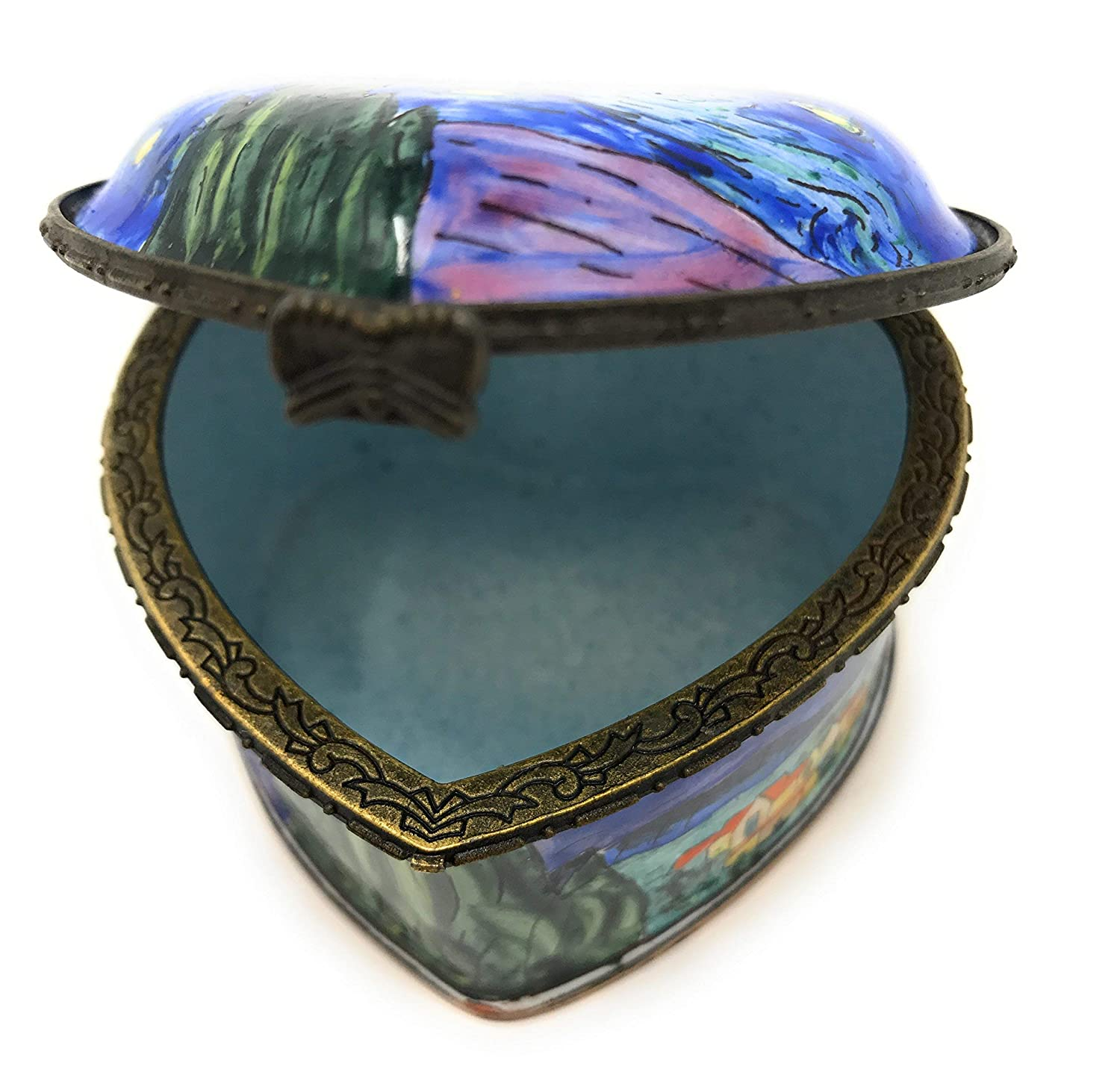 Kelvin Chen Vincent Van Gogh Starry Night Heart Shaped Enameled Trinket Box 2.75 Inches Long