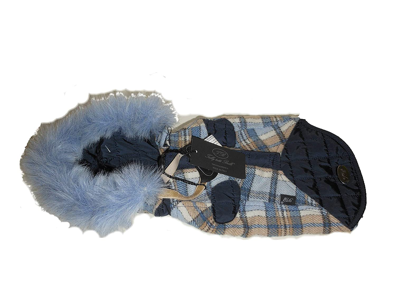 trilly Tutti Brilli Abrigo Doble fourure, Exterior escocés Viejo Azul Super cálido y Muy rafiné. Talla XS, Modelo: Afrodite Réf: clioaz L Blue