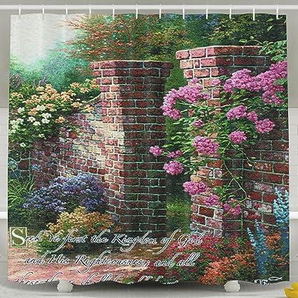 XsWu Thomas Kinkade Rose Garden Shower Curtain Bath With Hooks 60x72