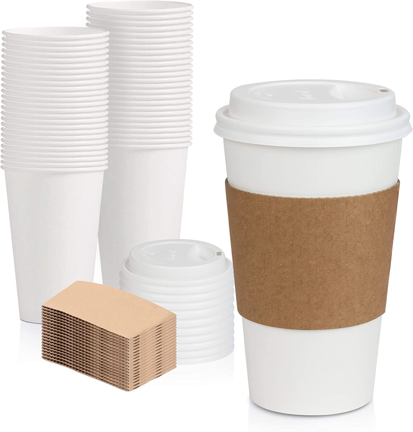 [50 Pack] White Coffee Cups with White Dome Lids and Brown Sleeves - 16oz Disposable Paper Coffee Cups - To Go Cups for Hot Chocolate, Tea, and Other Drinks - Ideal for Cafes, Bistros, and Businesses