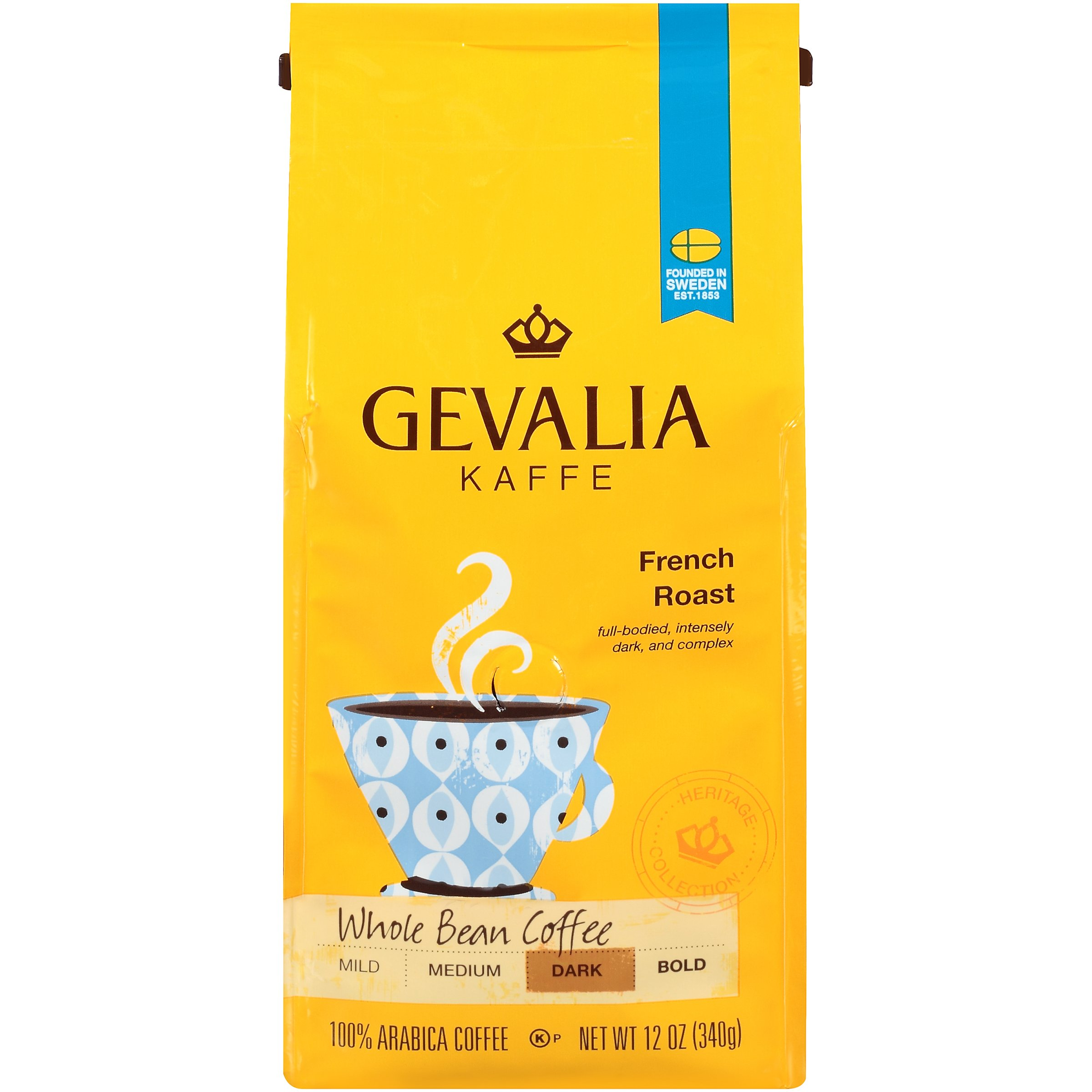 Gevalia French Roast Whole Bean Coffee (12 oz Bags, Pack of 6) by Gevalia