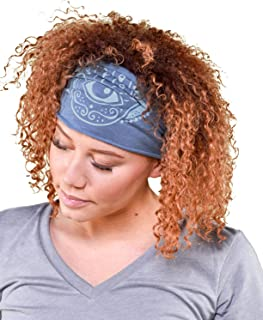 product image for Soul Flower Women's Hamsa Hand Boho Headband, Blue Organic Cotton Stretchy Wide Half Bandeau Accessory