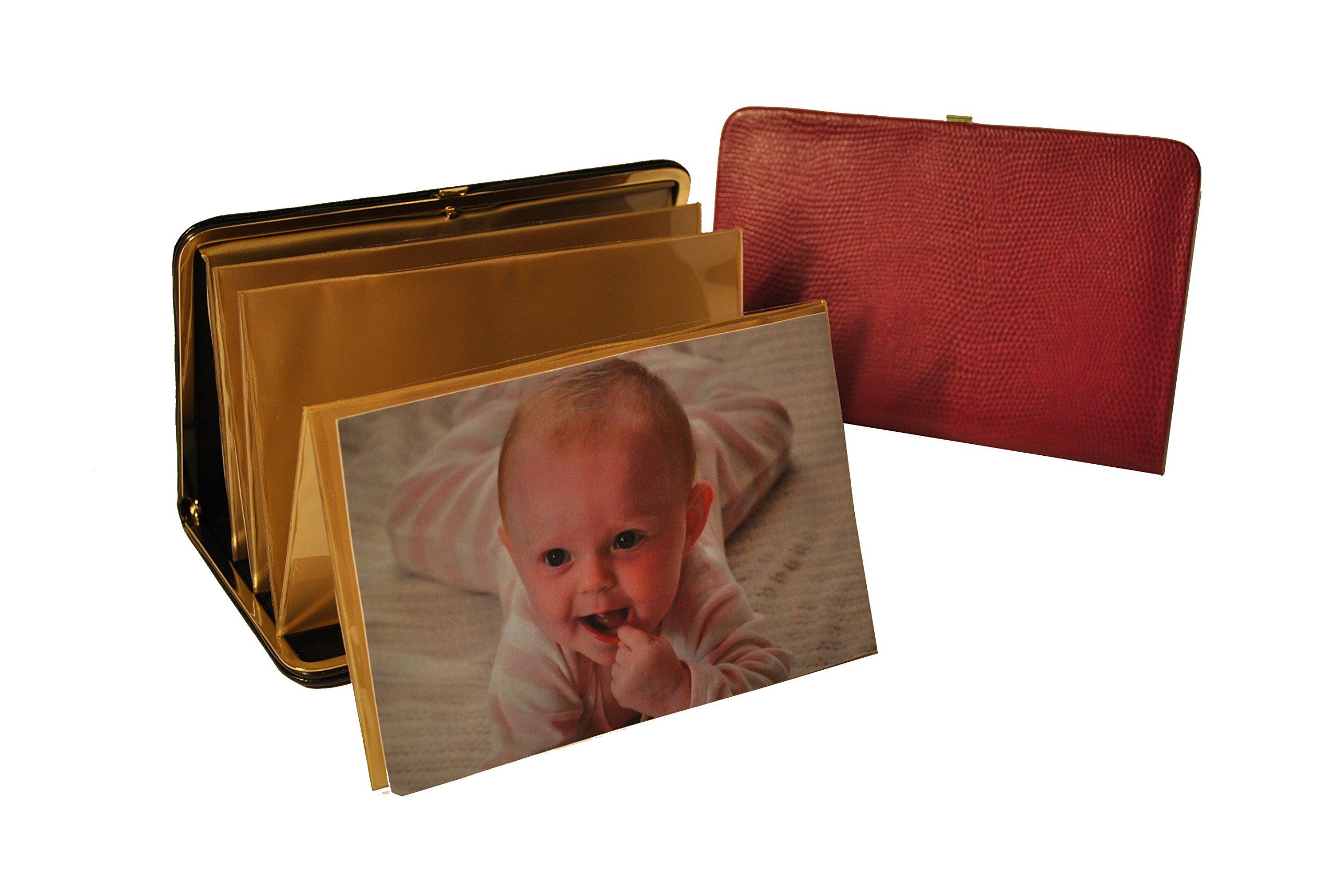 Budd Leather Lizard Print Portable Framed Photo Case, 4 by 6-Inch, Fuchsia