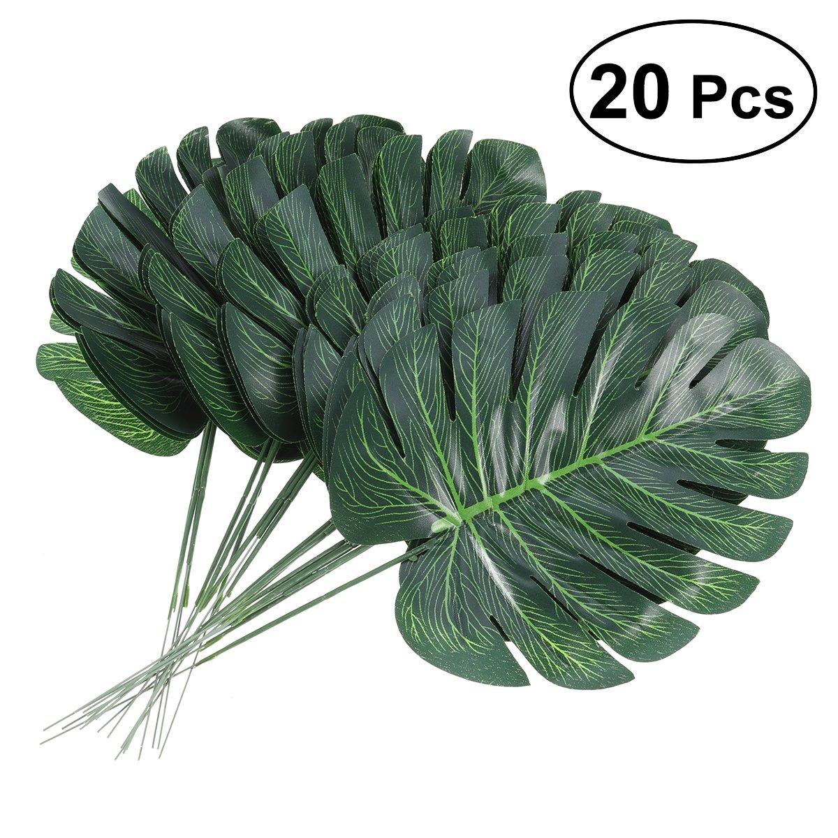 Tinkskyトロピカルヤシの葉人工リーフシミュレーション花人工植物フェイクMonstera葉ホーム装飾、20-pack B07BNF5HF5