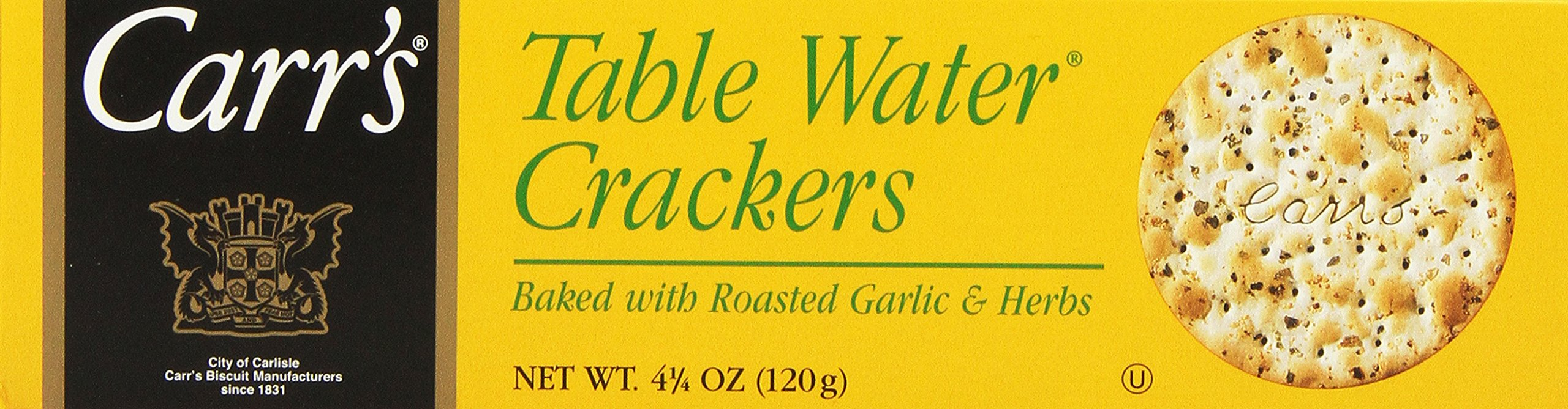 Carr's Table Water Crackers, Roasted Garlic & Herbs, 4.25-Ounce Boxes (Pack of 6) by Carr's