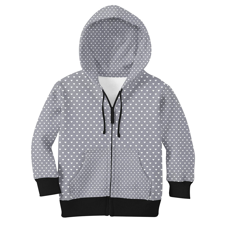 Mini Hearts on Grey Kids Zip Up Hoodie Unisex
