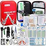 Monoki First Aid Kit Survival Kit, 241Pcs Upgraded Outdoor Emergency Survival Kit Gear - Medical Supplies Trauma Bag…