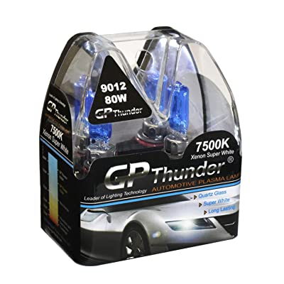 GP Thunder GP75-9012 Super White 9012 12V 80W Halogen Xenon Bulb with Quartz Glass (High Wattage 7500K Hir2/Px22D 2 Bulbs): Automotive