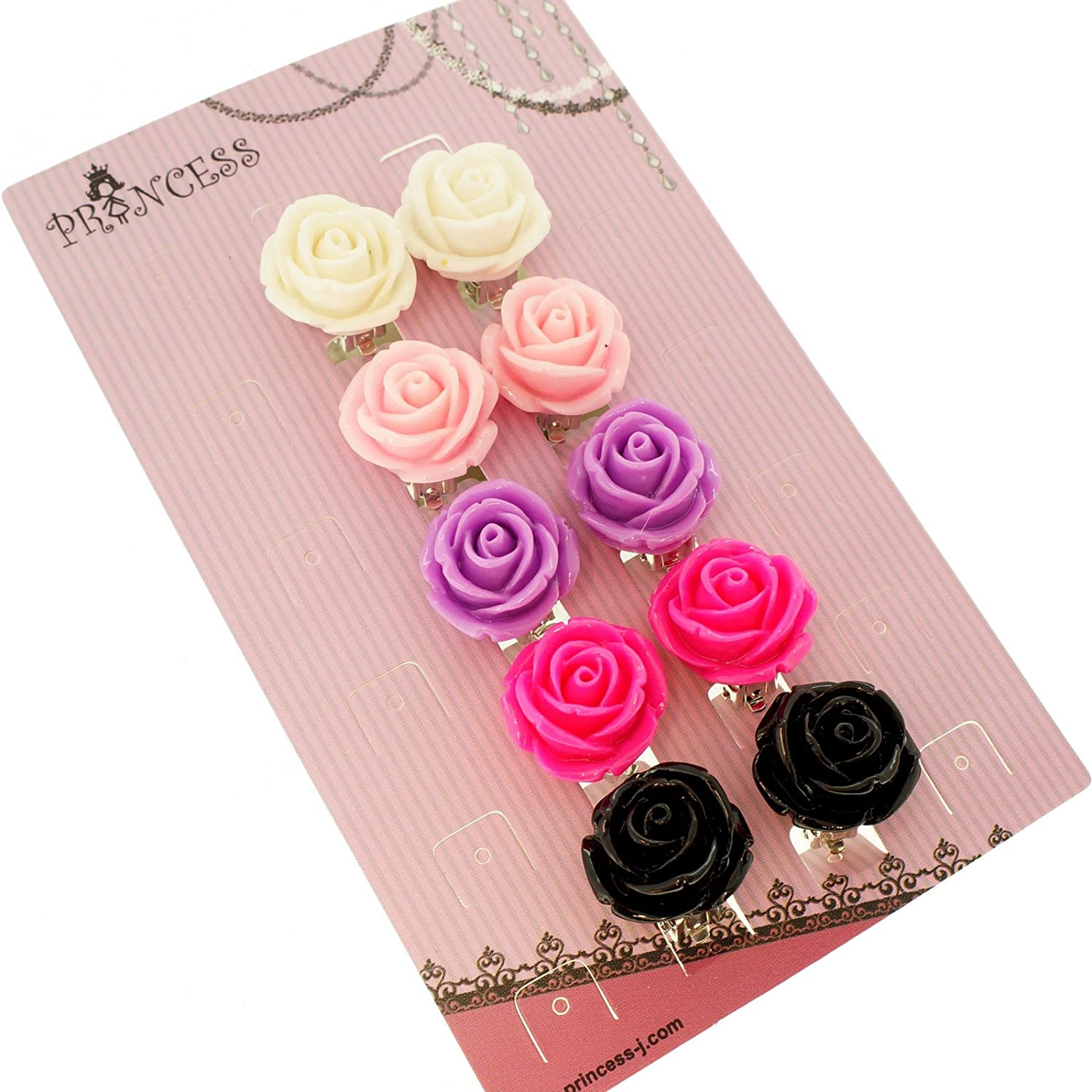 Big Size 19mm Color Rose Flower Design Fashion Clip-on Earrings, Pack of 5 Pairs PJ