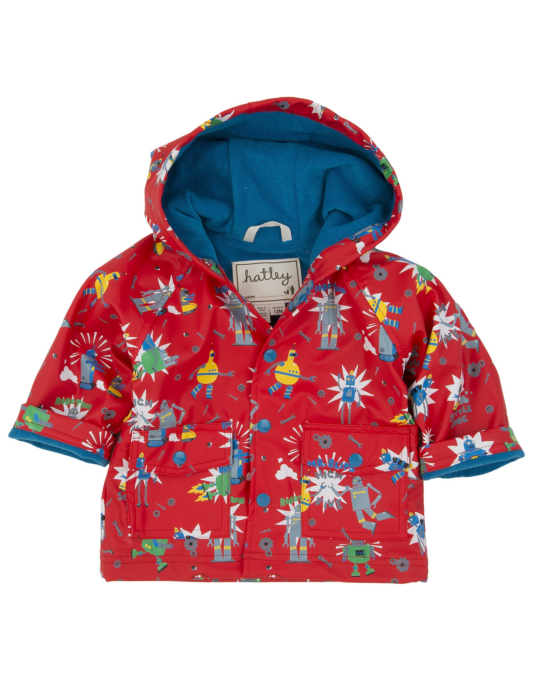 Hatley Kids Baby Boy's Robots Raincoat (Infant) Orange Outerwear 12-18 Months by Hatley
