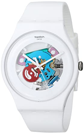 swatch white lacquered ladies watch suow