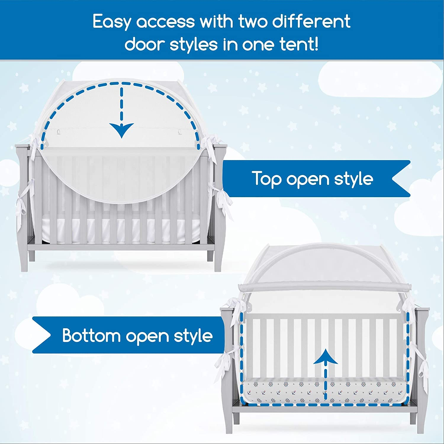 Mosquito Net for Crib Baby Lylou Safety Pop Up Crib Tent Canopy Cover to Keep Baby from Climbing Out with Storage Bag and Infant Safety eBook