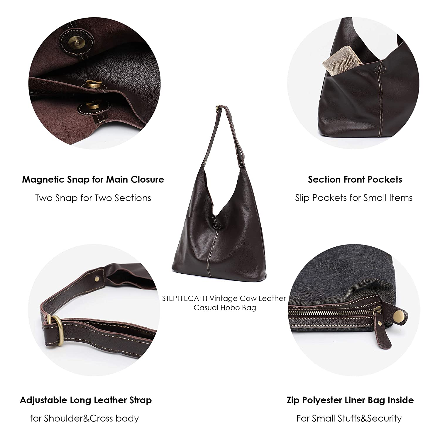 d5cca838a227 Amazon.com  Genuine Leather Women s Shoulder Bag STEPHIECATH Large Casual  Soft Real Leather Skin Tote Vintage Snap Basket Carry Bag (COFFEE)  Musical  ...