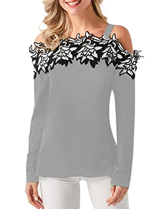 52fba8d196235f StyleDome Women s Off Shoulder Blouse Sexy Plus Size Tops Long Sleeve Strap  Embroidered Shirts Grey L