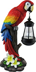 "DWK 13.9"" Tropical Glow Beautiful Parrot Colorful Island Macaw Solar Powered LED Lantern Figurine Patio and Garden Decor"