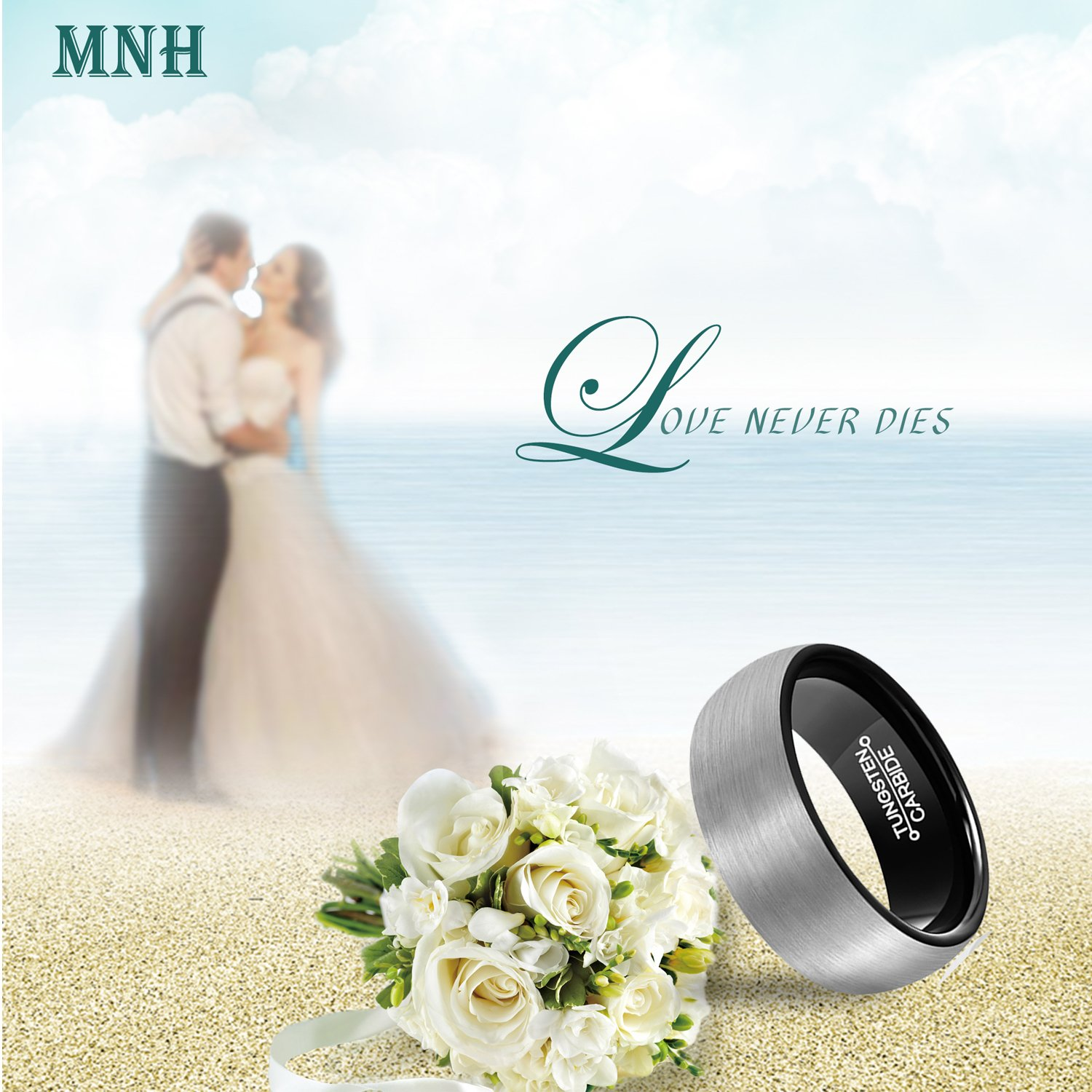 MNH Men's Carbide Tungsten Wedding Band Black 8mm Comfort Fit Brushed Matte Finish Ring Size 9.5 by MNH (Image #4)