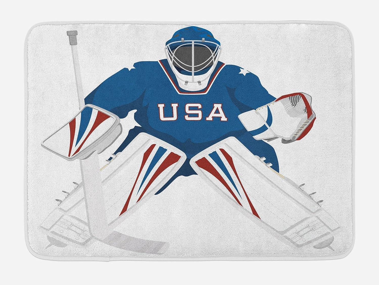Lunarable Sports Bath Mat, USA Hockey Goalie Protection Jersey Sport Wear Activity Hobby Illustration, Plush Bathroom Decor Mat with Non Slip Backing, 29.5