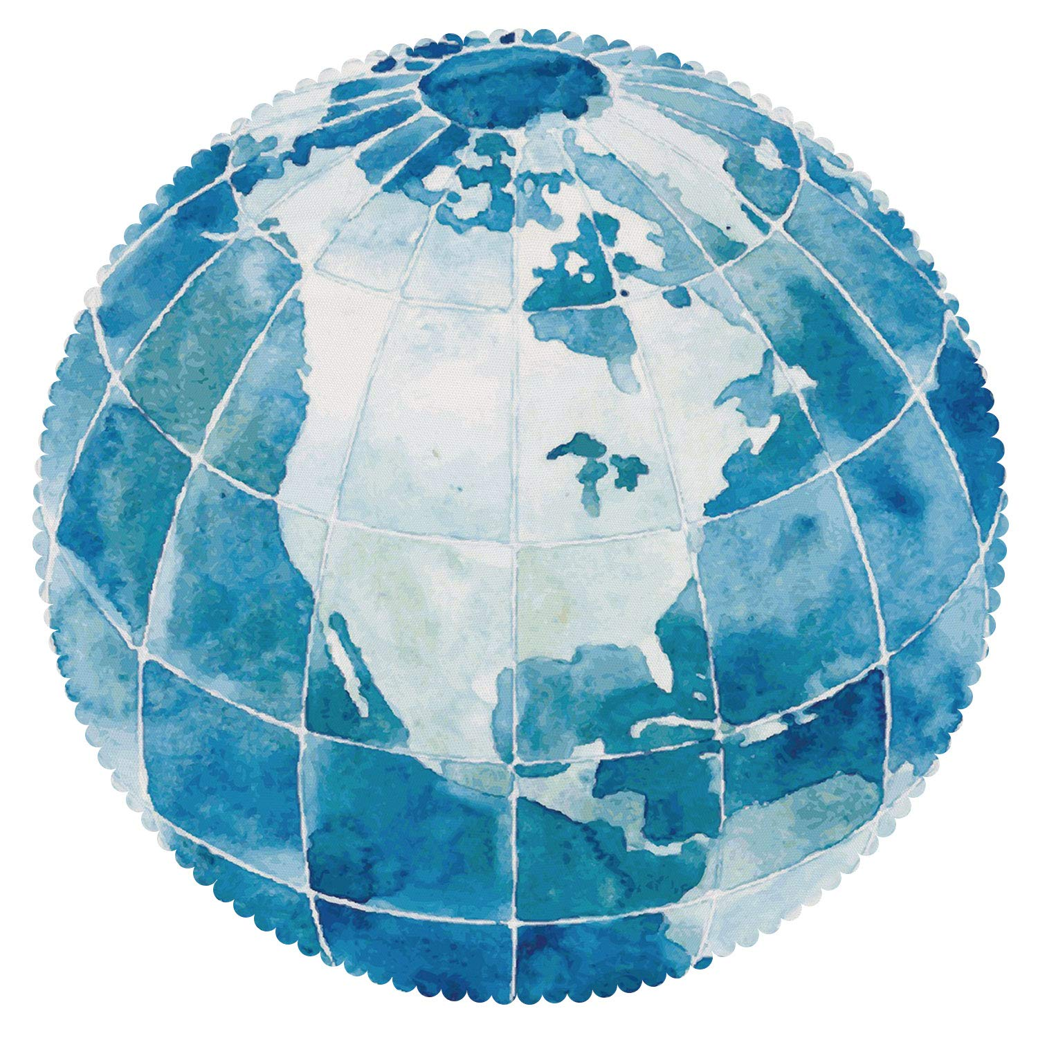 iPrint Decorative Round Tablecloth [ Map,Hand Drawn Watercolor Style Globe Sphere with North America Continent Paint Effect,Blue White ] Decorative Tablecloth Ideas