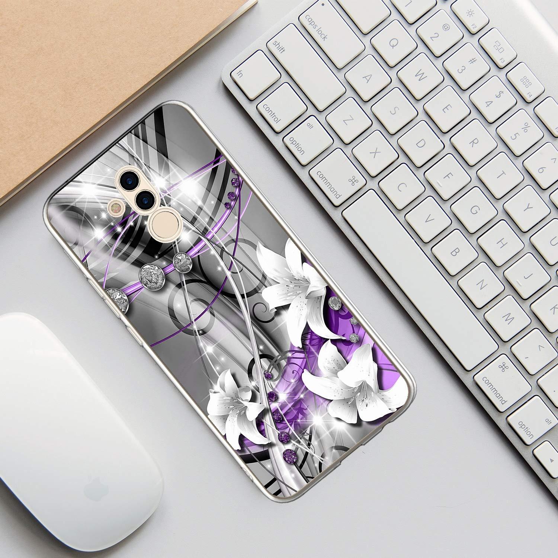 Etui Cr/éatif Silicone Diamant Bling TPU Mince L/éger Souple Professionnel Nouveau Housse Protecteur Vine Violet Rose Vert 3x Coque pour Huawei Mate 20 Lite