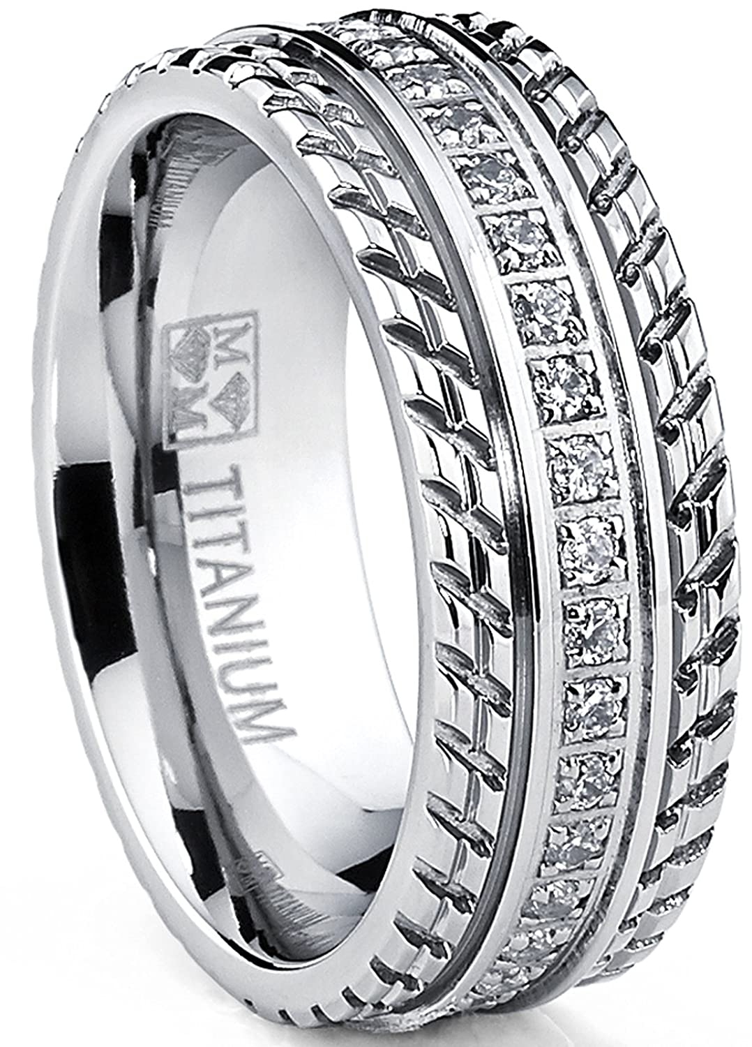 Men's Titanium Wedding Band, Engagement Eternity ring, Chevron design, Cubic Zirconia CZ Ring TIR-1134